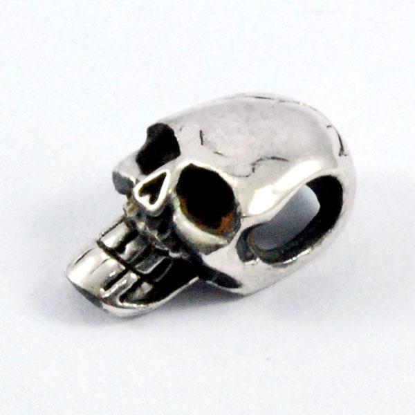 ワンポイントビーズ(スカル・骸骨) 1個 シルバーパーツ [tmb,055]