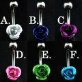14G/ボディピアス/バナナバーベル/リアルなポイント薔薇(ローズ)選べる6カラー