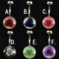 14G/ボディーピアス/バナナバーベル/シックに映える薔薇6カラー