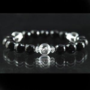画像1: 銀彫り守護梵字&AAA128面カットオニキス&AAAAA128面カット水晶の最強コラボ数珠ブレスレット